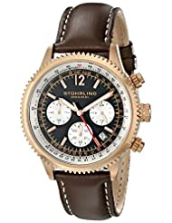 Stuhrling Original Men's 669.04 Monaco Analog Display Japanese Quartz Brown Watch