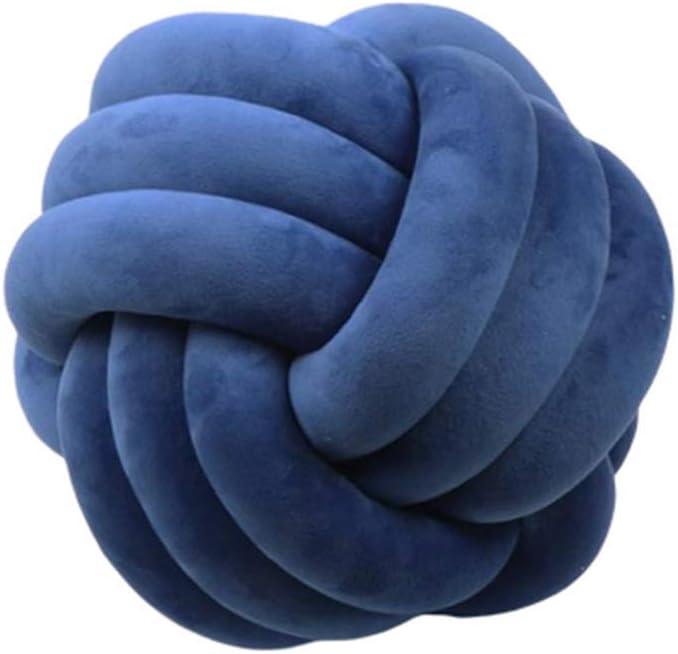 PLUS PO Cojines Almohada Anudada Nudo cojín Almohada de Tres hebras Almohada Almohadas Decorativas Cojín de Terciopelo Sofá Almohadas Dark Blue,35cm/13.78inch