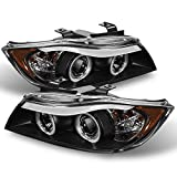 bmw 325xi headlights - BMW E90 3-Series 4 Doors Sedan Black Bezel Halogen Type Halo Ring LED Eye Lid Projector Headlights