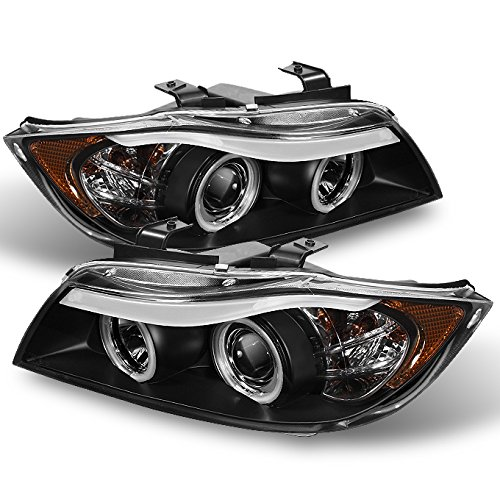 BMW E90 3-Series 4 Doors Sedan Black Bezel Halogen Type Halo Ring LED Eye Lid Projector (Bmw 325i Headlight Assembly)