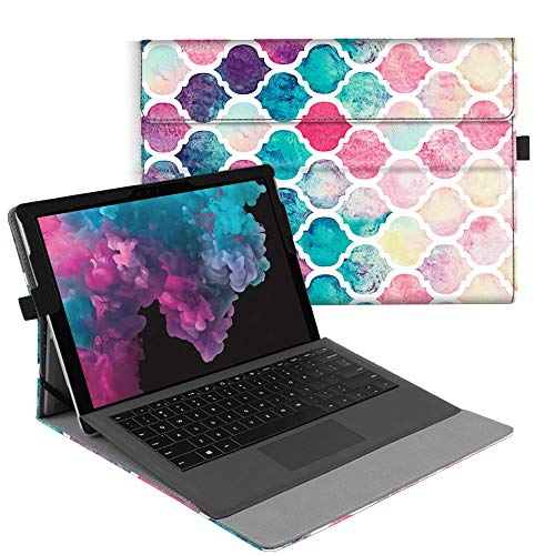 Fintie Case for Microsoft Surface Pro 6 / Pro 5 / Pro 4 / Pro 3 - Multiple Angle Viewing Portfolio Business Cover, Compatible with Type Cover Keyboard (Moroccan Love)