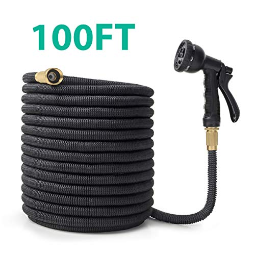 OWSOO Garden Hose, 100 FT Expandable Water Hose, 8 Function Spray Nozzle, Extra Strength Fabric, 3/4″ Solid Brass Fittings No-Kink Durable Flexible Hose, Rot, Crack, Leak Resistant
