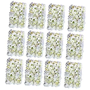 Fenteer 12 Pack Romantic Artificial Silk Rose Lily Flower Wall Panels Wedding Backdrops Decoration
