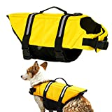 Gtpeak Dog Life Jacket Swimming Vest Saver with Professional Flotation Device Reflective Stripe,Adjustable Elastic Band Easy Grabbing Perfect for Different Sizes Dog Swim Comfortably & Safety
