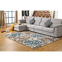 Soft and comfortable Wilson woven carpet, 4 kinds of size, 9 patterns, suitable for home decorate, children play, wome (4′4.4″6′2.8″(133CM190CM), Design-E)