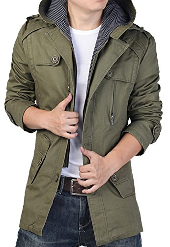 S&S Men's Cotton Canvas Jacket Gingham Lined Hoody Jackets Layered Jacket With Belt