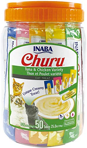 INABA Churu Lickable Purée Wet Treat for Cats   Playful Hand Feed or as Food Topper   Grain Free, Preservative Free…