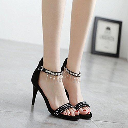 Femmes Hauts Talons Sandales D'été Ronde Tête Un Mot Boucle De Mode Asakuchi Chaussures A LAOTi