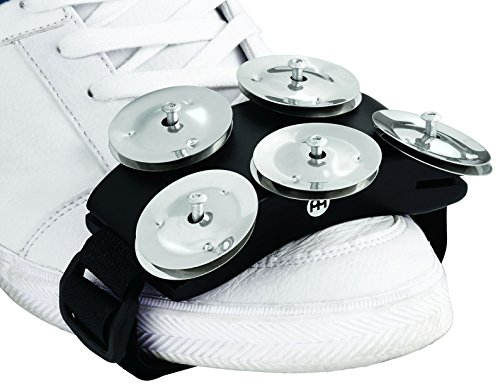 Meinl Percussion CFT5-BK Cajon Foot Tambourine with Steel Jingles, Black