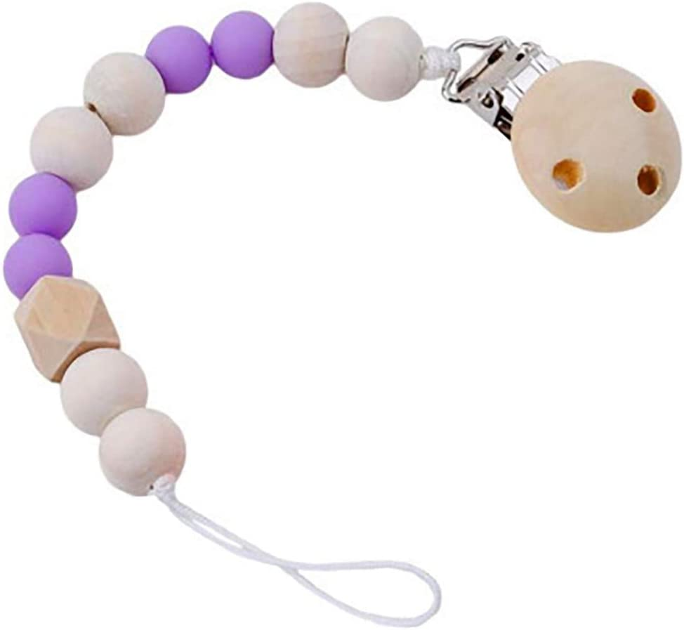 Purple Baby Pacifier Clip Holder for Unisex Baby with Nature Wooden Teething Beads Nipple Strap Chain Teether Toys Gift for Baby Boy Girls Shower