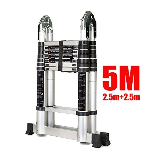 OGORI 5M Multi Purpose Auminium Folding Telescopic DIY Extendable Ladder (5M)