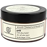 Khadi Gold Herbal Facial Massage Cream with Shea Butter, 50 g