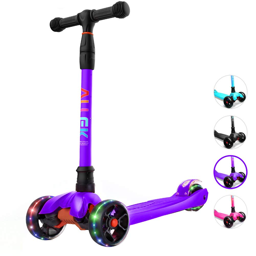 Allek Kick Scooter B02, Lean 'N Glide Scooter with Extra Wide PU Light-Up Wheels and 4 Adjustable Heights for Children from 3-14yrs (Purple) by Allek