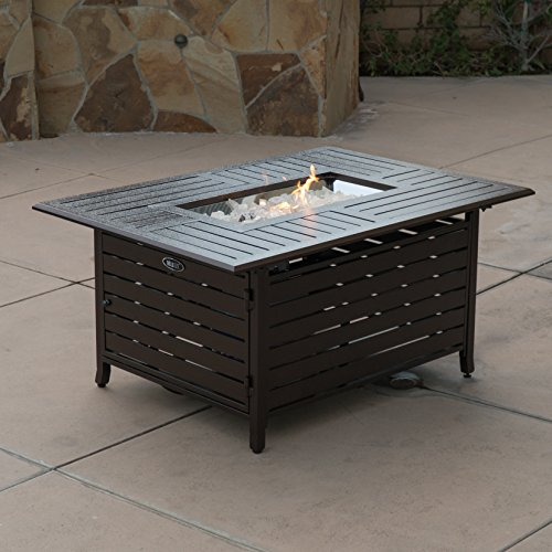 Bronze Deluxe Patio Heater (Belleze Elegant 40,000 BTU Rectangle Extruded Sturdy Aluminum Outdoor Propane Gas Fire Pit Table With Cover - Bronze)