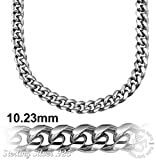 Sterling Manufacturers Men s Miami Cuban Link Curb Link Chain Platinum Plated 10.2 MM Solid .925 Sterling Silver Necklace or Bracelet with Secure LinxLock | Made in Italy by