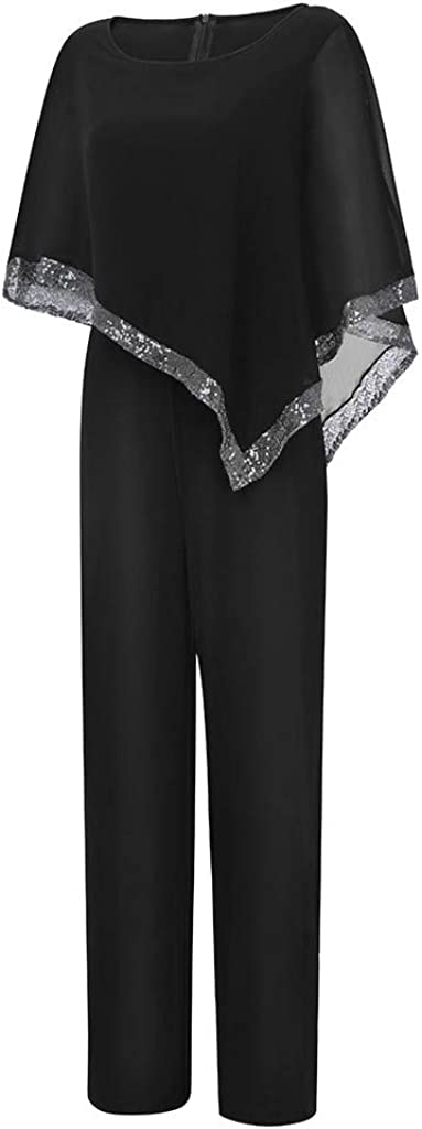 Fubotevic Womens Floral Printed Tunic Wide Leg Palazzo Pants Deep V Neck Rompers Overall Bodysuit