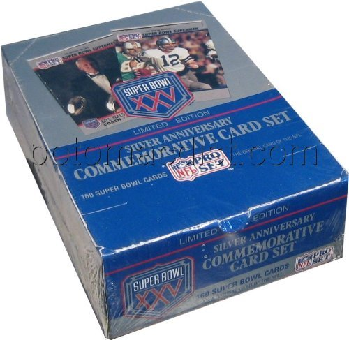 1991 Pro Set Super Bowl XXV Limited Edition Silver Anniversary Football Card Box [4 factory sets]