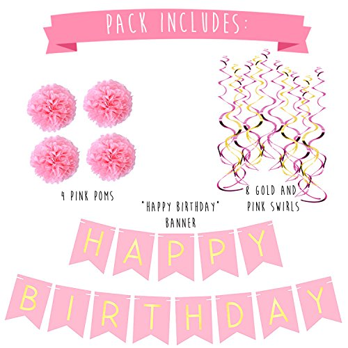 On Sale Birthday Party Pack Pastel Pink Happy Bunting Poms And Swirls