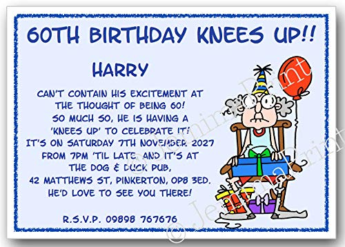 10 Personalised Birthday Party Invitations 18th 21st 30th 40th 50th 60th 65th 70th 80th 90th 100th Male Funny With Envelopes J321 Amazoncouk Handmade