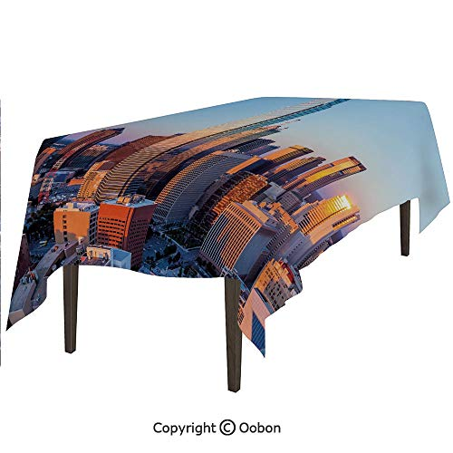 oobon Space Decorations Tablecloth, Dallas Texas City with Blue Sky at Sunset Metropolitan Finance Urban Center, Rectangular Table Cover for Dining Room Kitchen, W60xL102 inch - Metropolitan Table Rectangular Dining