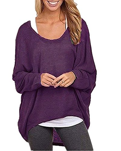Dolman Sleeve Tunic Sweater (KAY SINN Womens Long Batwing Sleeve Shirt Loose Pullover Sweaters Medium Raspberry)