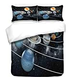 iPrint 3Pcs Duvet Cover Set,Galaxy,Solar System All Eight Planets and The Sun Pluto Jupiter Mars Venus Science Fiction,Black Grey,Best Bedding Gifts for Family/Friends