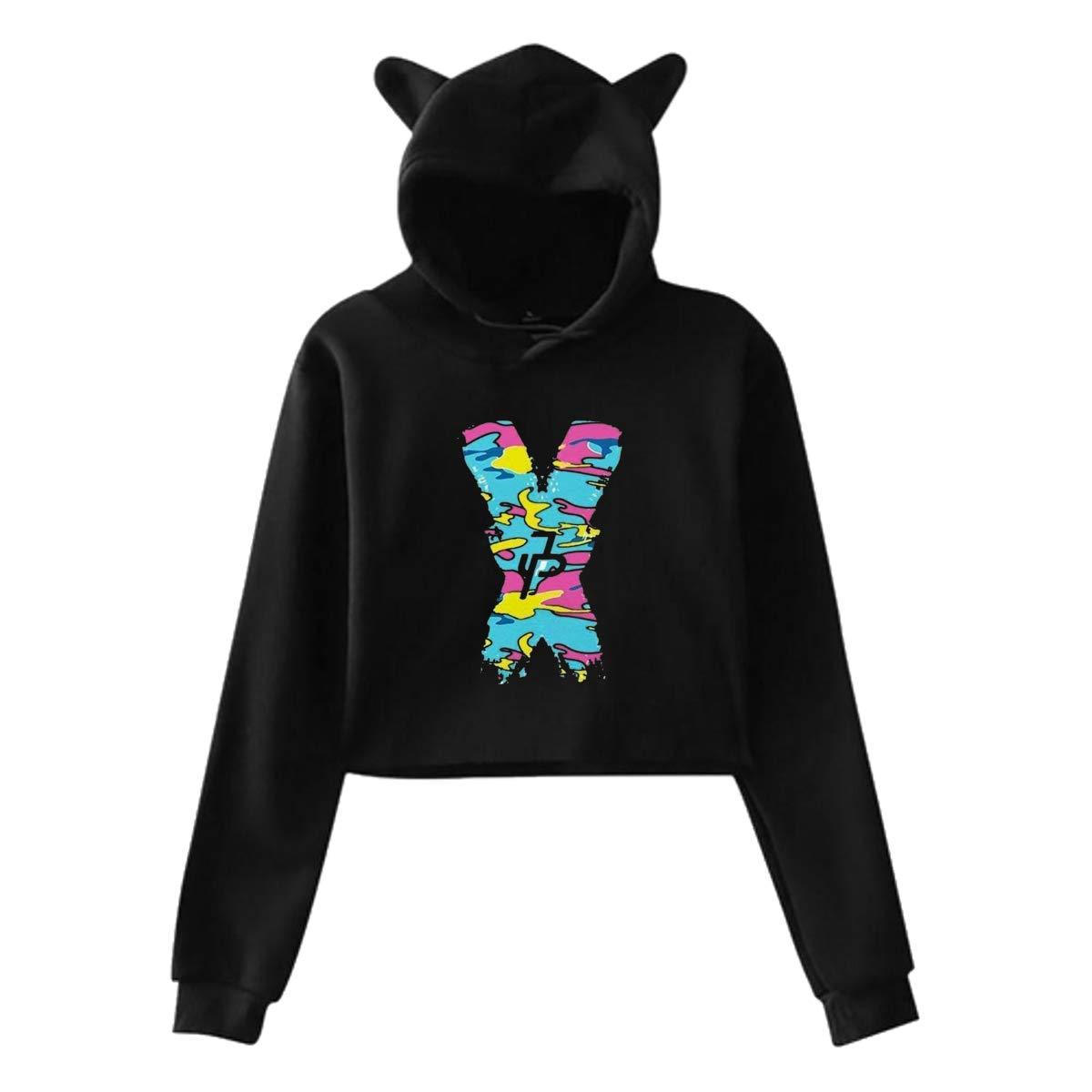 Womens Cat Ear Pullover Hoodie Jake Paul X JP Hooded Sweatshirt Hoodies for Women Girls Clothes Outdoor Sport Coat Tops Black 29