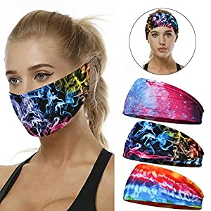 ACTLATI Men Women Headband Sweatbands for Sport Running Cycling Yoga Workout Sweat Band Lightweight Breathable Face Mask…