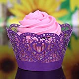 Artistic Bake Cake Cups 25pcs Little Vine Lace Laser Cut Cupcake Wrapper Liner Baking Cup Muffin Case Trays - Willsa (Purple)