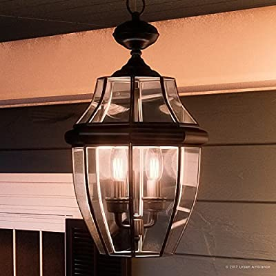 "Luxury Colonial Outdoor Pendant Light, Large Size: 19""H x 11""W, with Tudor Style Elements, Versatile Design, High-End Black Silk Finish and Beveled Glass, UQL1157 by Urban Ambiance"