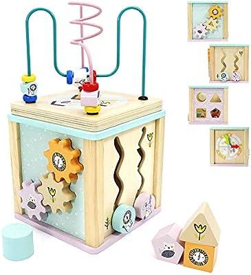 Amazon.com: Juguete educativo de madera para bebé, 5 en 1 ...