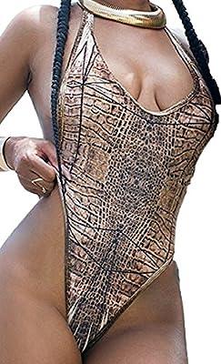 Sorrica Women's Sexy Print Bodycon One Piece Backless Swimsuit Bikini