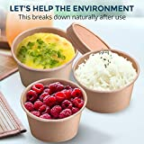 [50 Pack] 12 oz Kraft Compostable Paper Food Cup