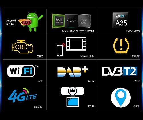 Autoradio Universale Erisin ES4836U 6.2 2 Din Android 9.0 Nissan//WiFi DAB+Nav