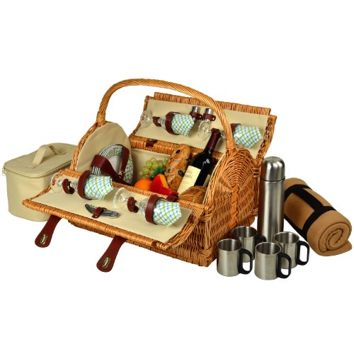 Rattan Double Shaker (Picnic at Ascot Yorkshire Willow Picnic Basket with Service for 4,  Coffee Set and Blanket - Gazebo)