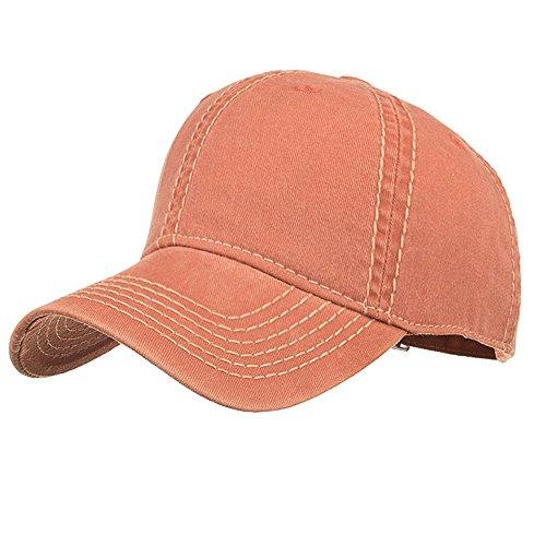 Londony  Baseball Cap Men Women Classic Adjustable Plain Hat Unisex Vintage Washed Distressed Baseball-Cap Hat Orange
