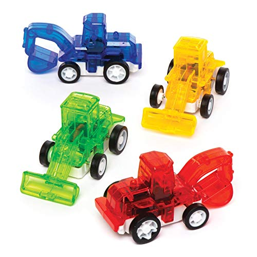 Baker Ross Pull Back Racing Diggers (Pack of 6) Mini Assorted Colour Vehicles Perfect for Kids Goodie Bags, Halloween Party Favours, Pinata Filler or Birthday Presents -