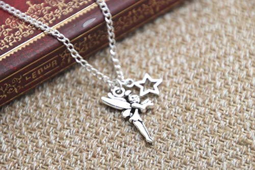 (12pcs/lot Peter Pan Tinker Bell Necklace Tinker Bell Fairy Star Charm Inspired Neckace)