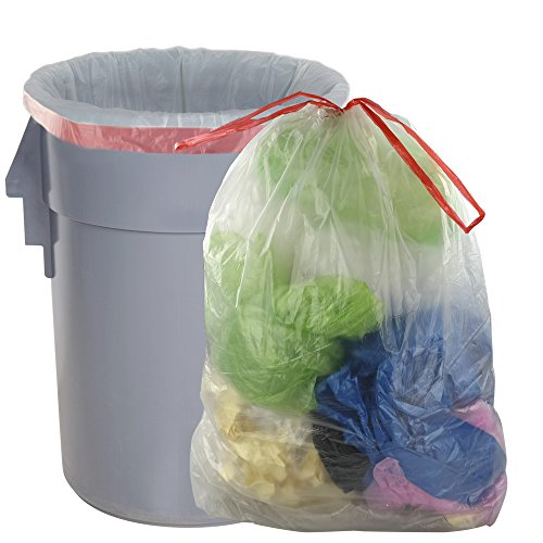 30 Gallon Drawstring - Pekky Clear Drawstring Large Trash Bags, 30 gal, 60 Counts/2 Rolls