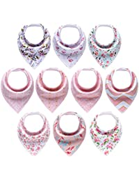 10-Pack Baby Girl Bandana Drool Bibs for Drooling and Teething