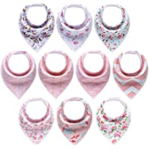 MiiYoung 10-Pack Baby Girl Bandana Drool Bibs for Drooling and Teething