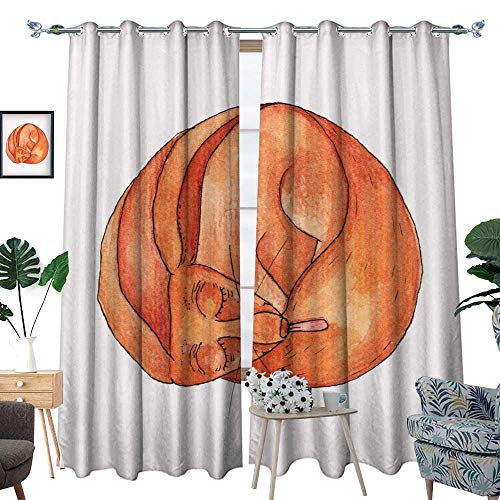 """drapes panels Colorful watercolor sleepy fox with tongue Cute animal illustration Watercolor graphic for fabric postcard greeting card book poster t-shirt Illustration isolatio W96"""" x L84"""" Drapes"""