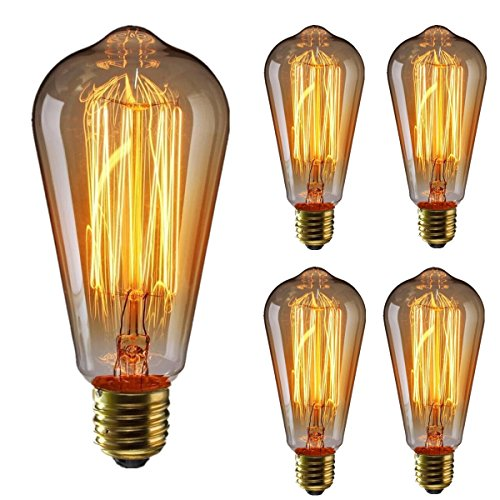 Vintage Edison Bulb KINGSO Dimmable 60W Edison Light Bulb Squirrel Cage Filament Incandescent Antique Light Bulb E26 Base ST64 110V - 4 Pack by KINGSO
