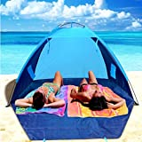 4 Person Connect Tent with Canopy, Portable Instant Pop Up Beach Shelter Deluxe Outdoor Large Light Dome Tent, Orange and Blue Dome Tent & E-Book