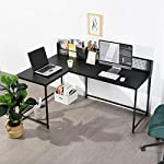 L Shaped Corner Desk Home Office Industrial Style Large Desktop Computer Gaming Desk, Black PC Workstations 165 * 110…