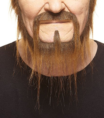 [Long Squatter brown fake beard, self adhesive] (Halloween Costumes With Beards And Long Hair)