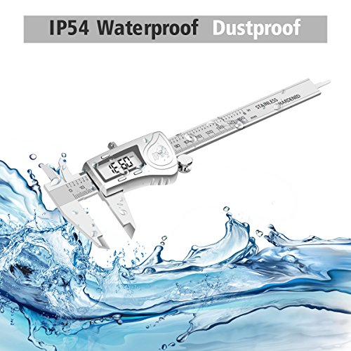 Digital Caliper, LIUMY Professional 6''/150mm Electronic Digital Vernier Caliper with LCD Screen, IP54 Water Resistant and Inches and Metric Easy for Measurement Work silver white Photo #8