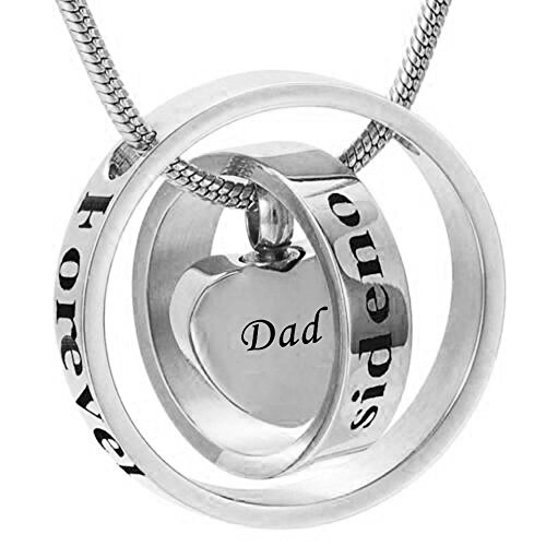 No Longer by My Side Forever in My Heart Carved Locket Cremation Urn Necklace for mom & dad