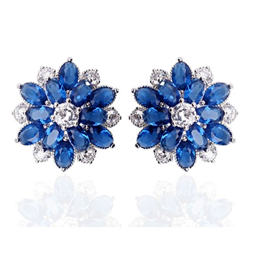 "Bridal Blue Flower Stud Earrings Set in Cluster Cubic Zirconia 0.63""x0.63"", Hypoallergenic Jewelry Gift For Brides Bridemaid Women Girls Best Friends"