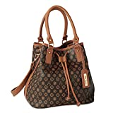 Alfred Durante Brown Midtown Signature Bucket Faux Leather Handbag by The Bradford Exchange